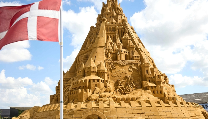 The world's tallest sand sculpture under construction in the small seaside town of Blokhus in Denmark. AFP